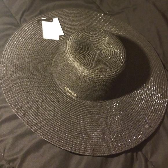 d52a5ff2d8f Black Sequin Calvin Klein Floppy Sun Hat